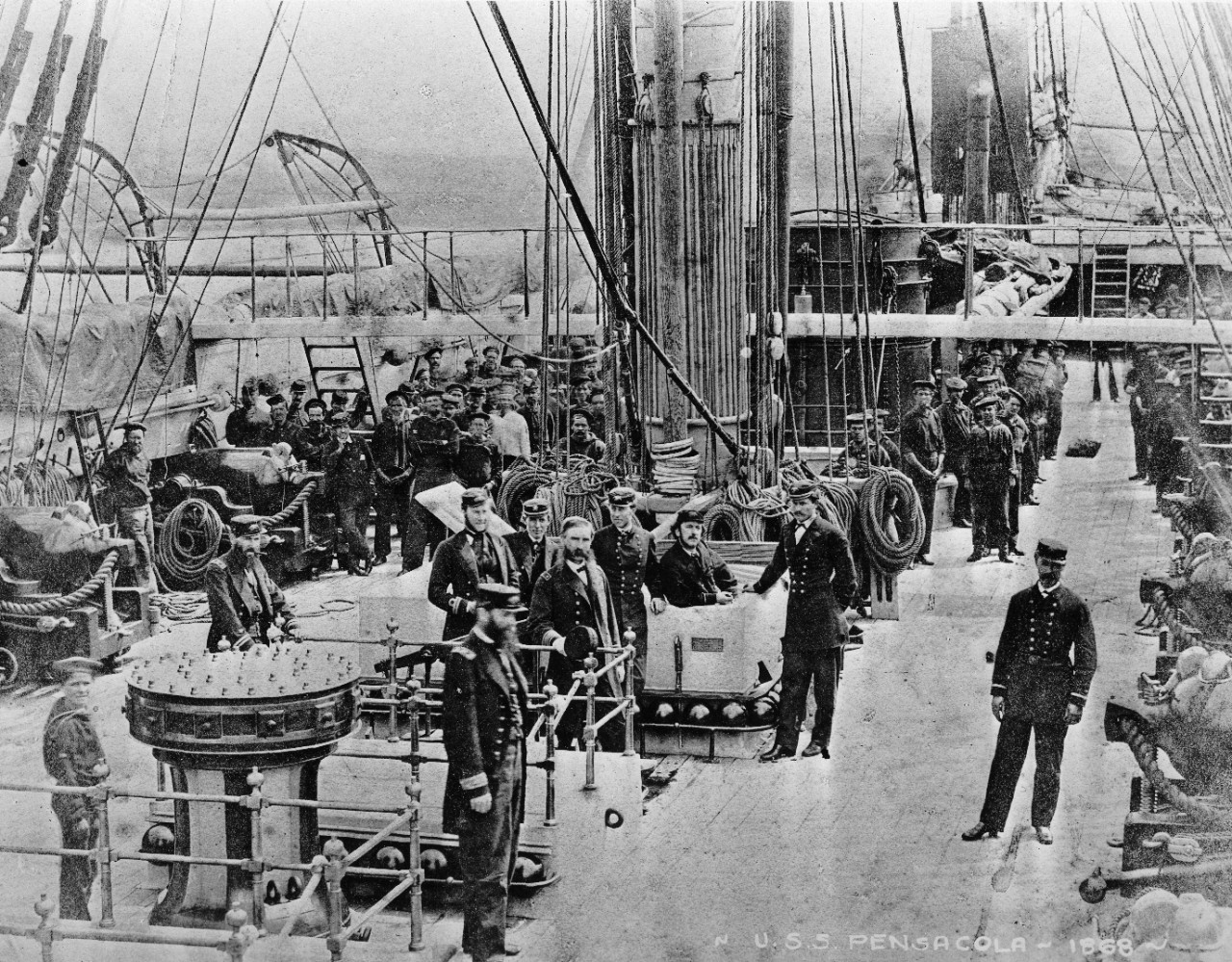 "1 photograph of officers and crew of USS Pensacola, circa 1868. 1 book ""The United States Navy from the Revolution to Date"" by Francis J. Reynolds, transferred to Navy Department Library."