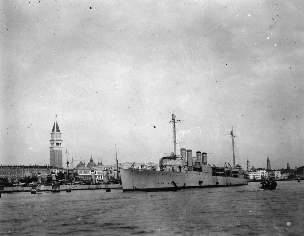 Approximately 160 images taken in Europe, circa 1919-1922.Rear Admiral Mark Bristol; Admiral William Benson; Admiral William Sims; captured German war material; Dalmatian Coast; Istanbul, Turkey; Venice, Italy; USS Lansdale (DD-101); USS Schley (DD-103); USS Ringgold (DD-89); destroyers on convoy duty during World War I; USS Western Light (SP-3300); USS Mercer (SP-3837); USS Scorpion (PY-3); USS Canibas (SP-3401); Antwerp, Belgium; Curtiss H-12 or H-16 flying boat; foreign ships including Radetzky (Austrian), Nino Bixio (Italian), Sultan Selim (Turkish), Temeraire (British), Condorcet (French), Lord Nelson (British); refugee camp in France; ruined towns on the French Western Front; Belgium, including harbor scenes and the Waterloo Monument; USN railway guns firing. Most photos do not have captions. Some photos have been assigned NH numbers or were removed to the NH collection.