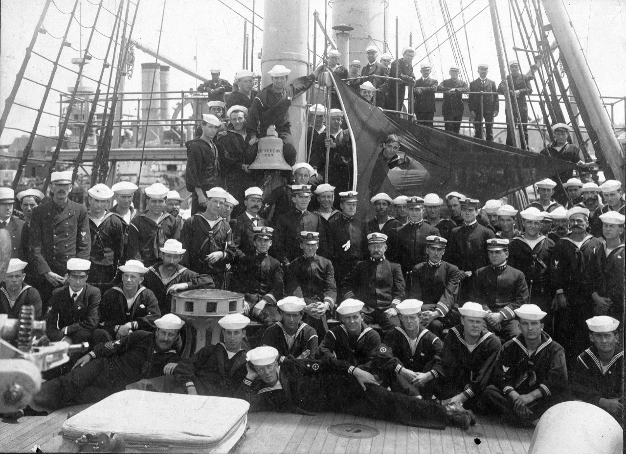One photo of the crew of USS Princeton (PG-13), circa 1905-1915 originally from the collection of CDR Fred M. Perkins