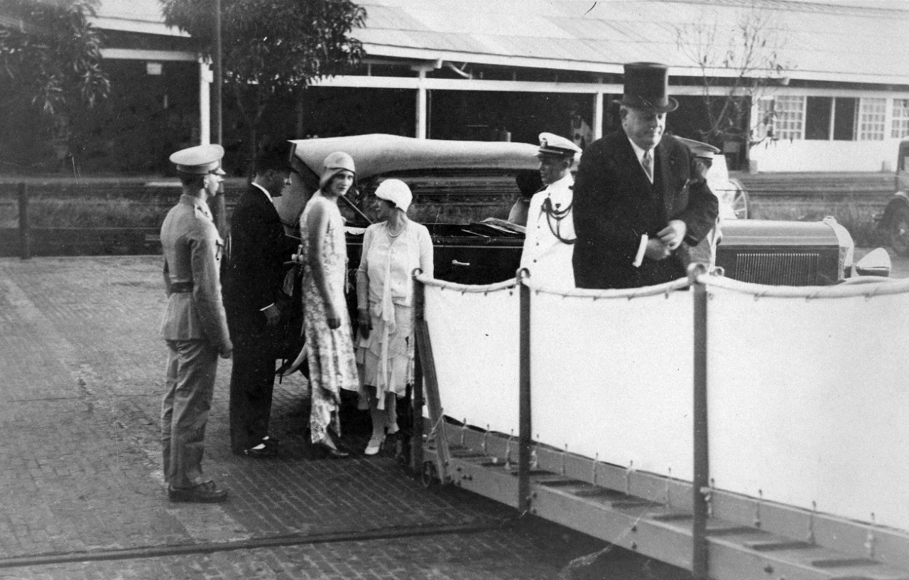 3 photos related to a reception held on board the USS ROCHESTER (CA-2) IN BALBOA, PANAMA in honor of President Florencio Harmodio AROSEMENA in the spring of 1930. Reception given by Rear Admiral CAMPBELL. Others seen: Wife of F.H. AROSEMENA; John Glover SOUTH, US Minister to Panama; Lieutenant Ross COOLEY; Mrs. SOUTH; Mrs. Benjamin MUSE; Laurence HIGGINS, 2nd Secretary to US Legation, Panama. Some images have been assigned NH numbers.