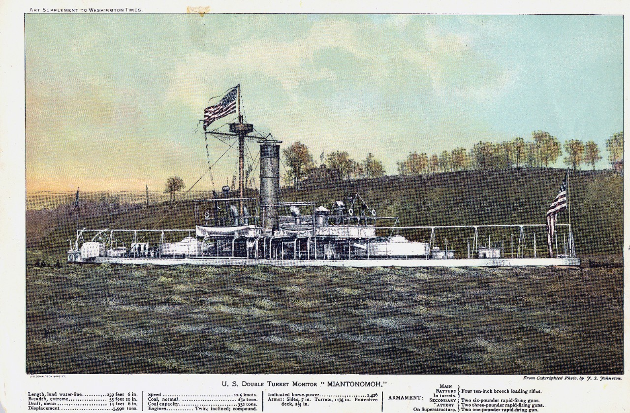 2 colored half-tones, from photographs by J.S. Johnston, lithographed by Donaldson Bros., N.Y., originally published in the Washington Times. USS New York (ACR-2) and USS Miantonomah (1882-1907).