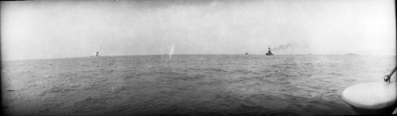 Ex-SMS Ostfriesland subjected to aerial bombardment, during the 1921 Army aerial bombing trials, off the Virginia capes.