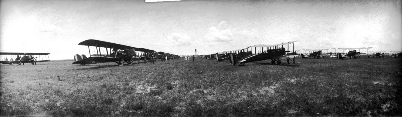 Martin MB-2s and DH-4s at Langley Airfield, Virginia. These were the primary aircraft used during the 1921 Army-Navy bombing exercises off the Virginia capes.