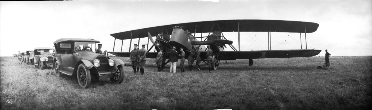 General Mitchell escorts Secretary of War John Weeks and General John J. Pershing as they inspect a Martin MB-2 Bomber at Langley Airfield, Virginia. Occasion is most likely the 1921 Army-Navy bombing exercises off the Virginia capes.