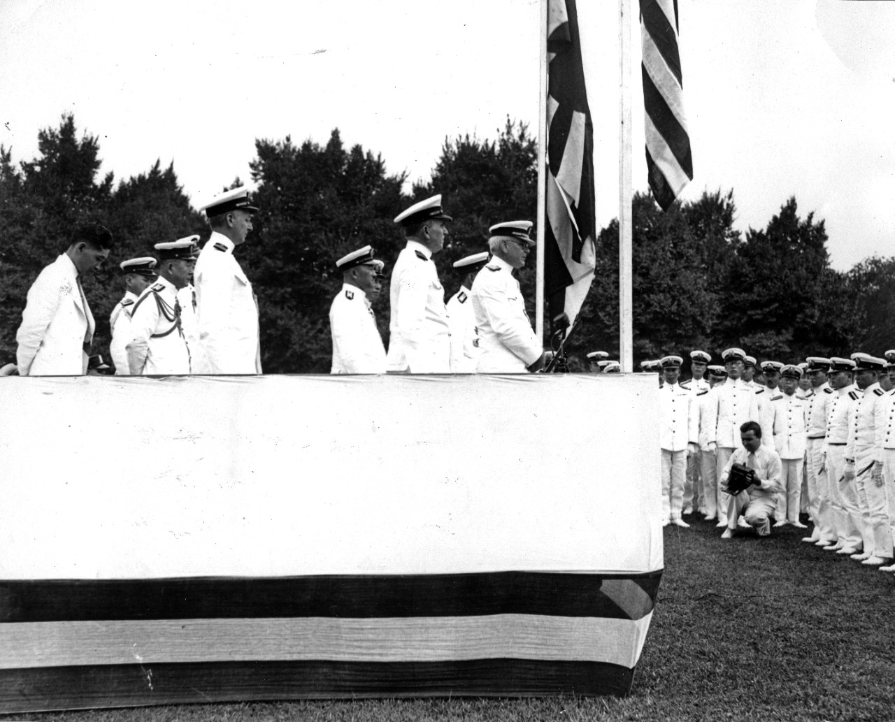 Chief of Naval Operations Admiral William H. Standley addresses Japanese midshipmen, circa 1936. To his left is Japanese Admiral Zengo Yoshida.