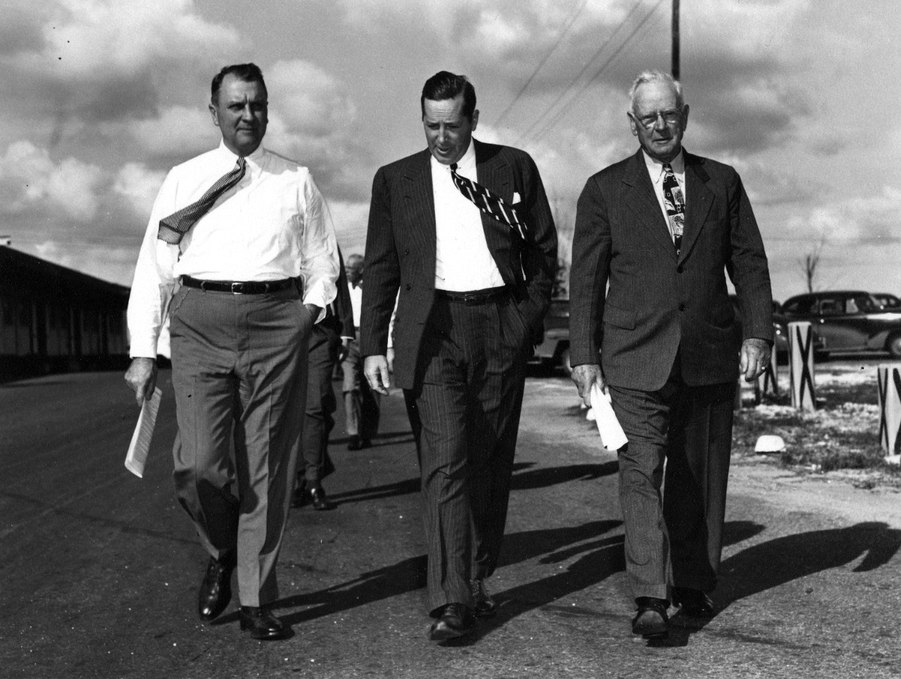 Admiral William H. Standley, USN (Ret) (at right), walks with head of Pan Am Juan Trippe (at left) and an unidentified man, likely in Miami. Original photo by Pan American World Airways Public Relations.