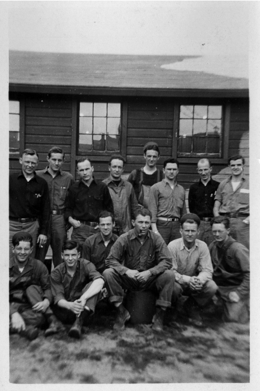 Collection of approximately 110 b/w photos related to the WWII service of Earl F. Thompson (Seabees) in the Aleutian Islands, Alaska. The subjects in the images consist of various construction projects, tent and Quonset hut encampments, buddies/pals, and general scenic photos of Alaska (exact locations unknown). The construction photos appear to be of bridge and facilities building. Also included is the post cemetery (possibly on Attu). A sign maker notes the location where Colonel Yasuyo Yamasaki died on Attu Island in 1943. The collection also consists of two oversized prints of Thompson's basic training company in Farragut, ID (July 29, 1944), company 663, regiment 3, battalion 11.