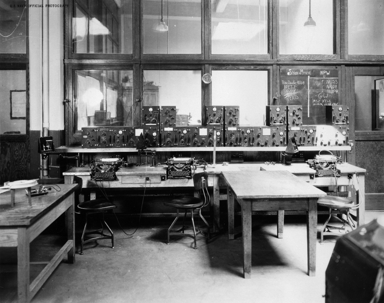 Approximately 50 photos, negatives, and cyanotypes (plus duplicates) showing the Radio Headquarters of the Twelfth Naval District, 100 Harrison Street, San Francisco, California, circa 1926-1927. Shown are: control stations, transmitters, generators, amplifiers, receivers, antenna system, distribution panel, high speed recorder, work shop, batteries, Bellevue experimental receiver, compass tracking section. Some prints and negatives were made from acetate negatives which were subsequently destroyed.