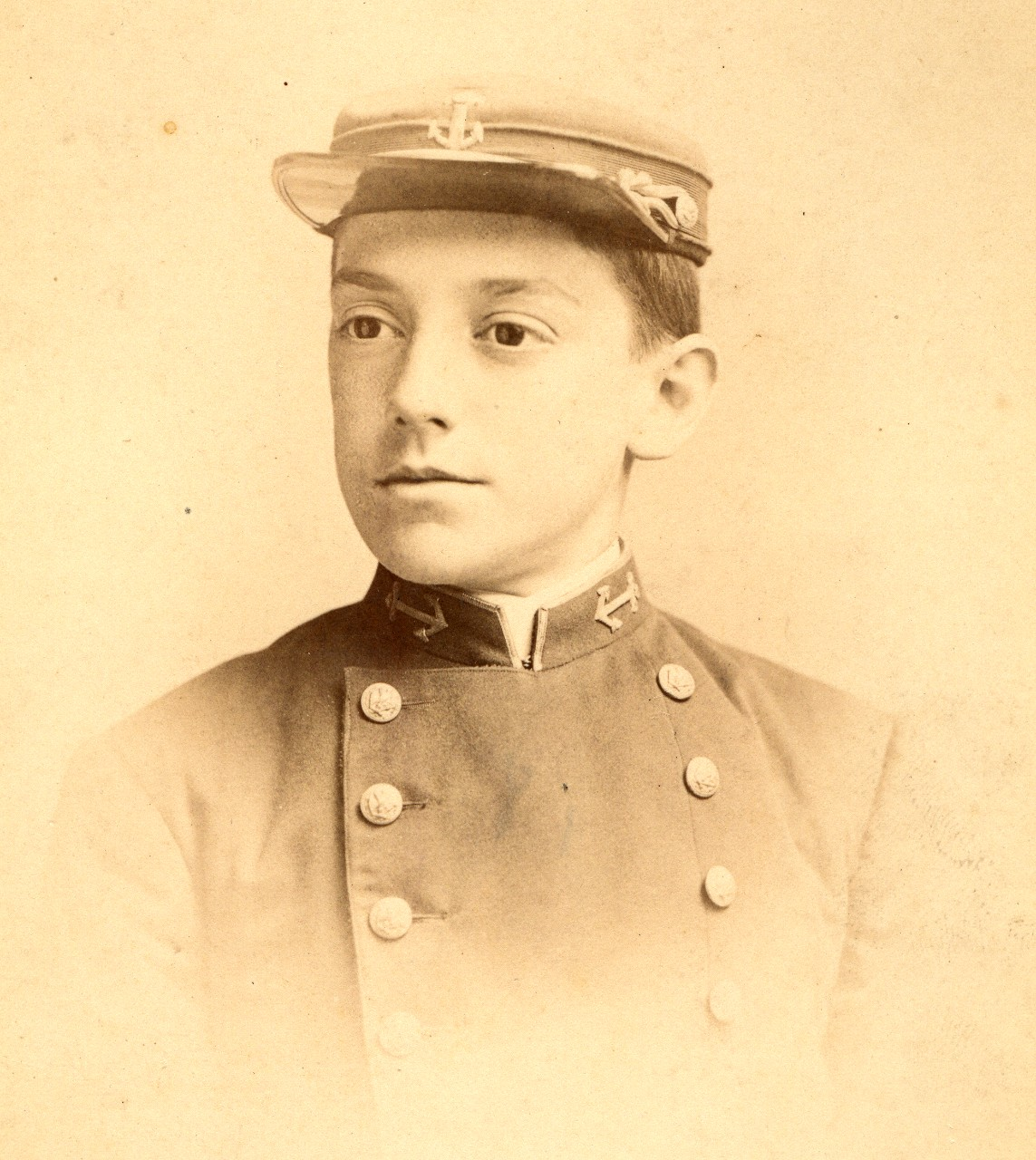 98 photographs and cabinet cards related to the United States Naval Academy in the 1880s and 1890s. Good views of the grounds and buildings, and many excellent views of midshipmen. Names are handwritten and often difficult to make out.