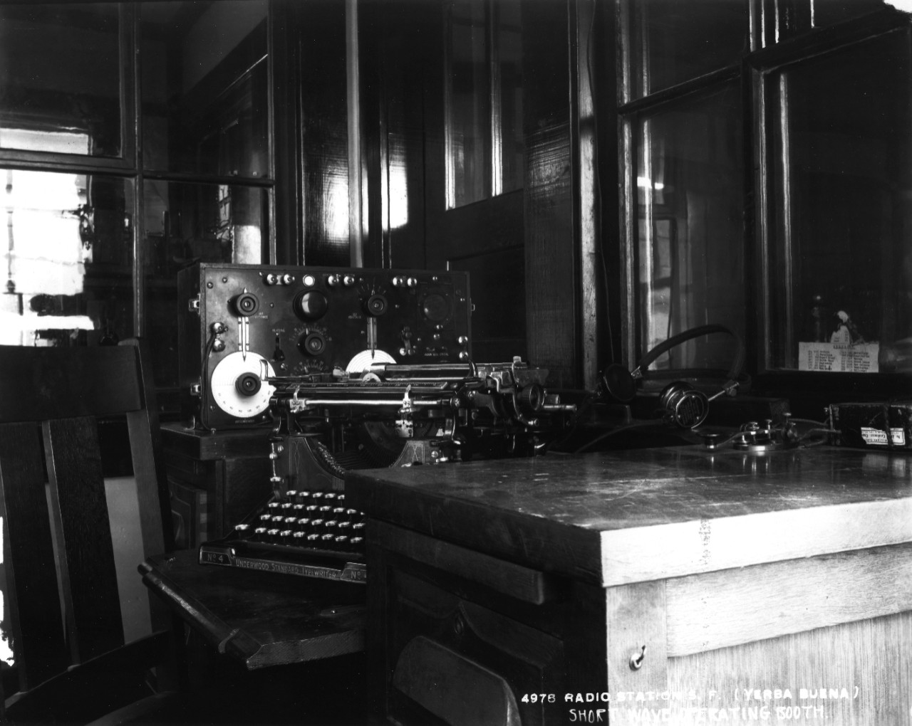 32 photographs (many with copy negatives) of U.S. Naval Radio Station Yerba Buena, San Francisco, California, 1917-1920. Views of interior buildings, towers, and antennae. Interior views of equipment including radio compass, telephone transmitters, receivers, power house, short wave sets, exchange, telegraphone wires, amplifiers, control circuits, transcribing amplifier, rheostats, kleinschmidt installation and perforator.  Some of these are copies made from nitrate negatives that were disposed of.