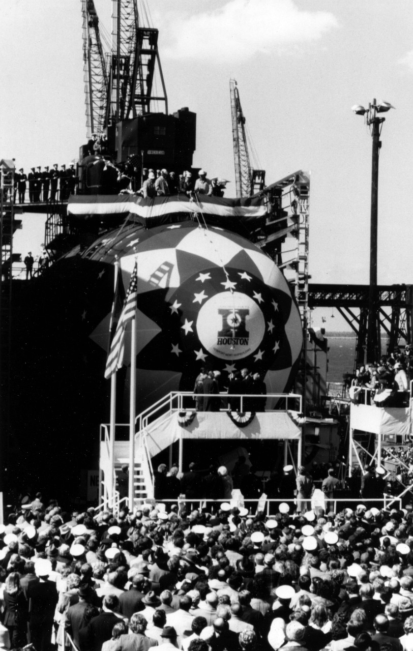 Newport News, VA - Principals stand on the christening platform as Mrs. Barbara Bush, sponsor, prepares to christen the nuclear powered attack submarine USS Houston (SSN-713) during launch ceremonies. March 21, 1981.