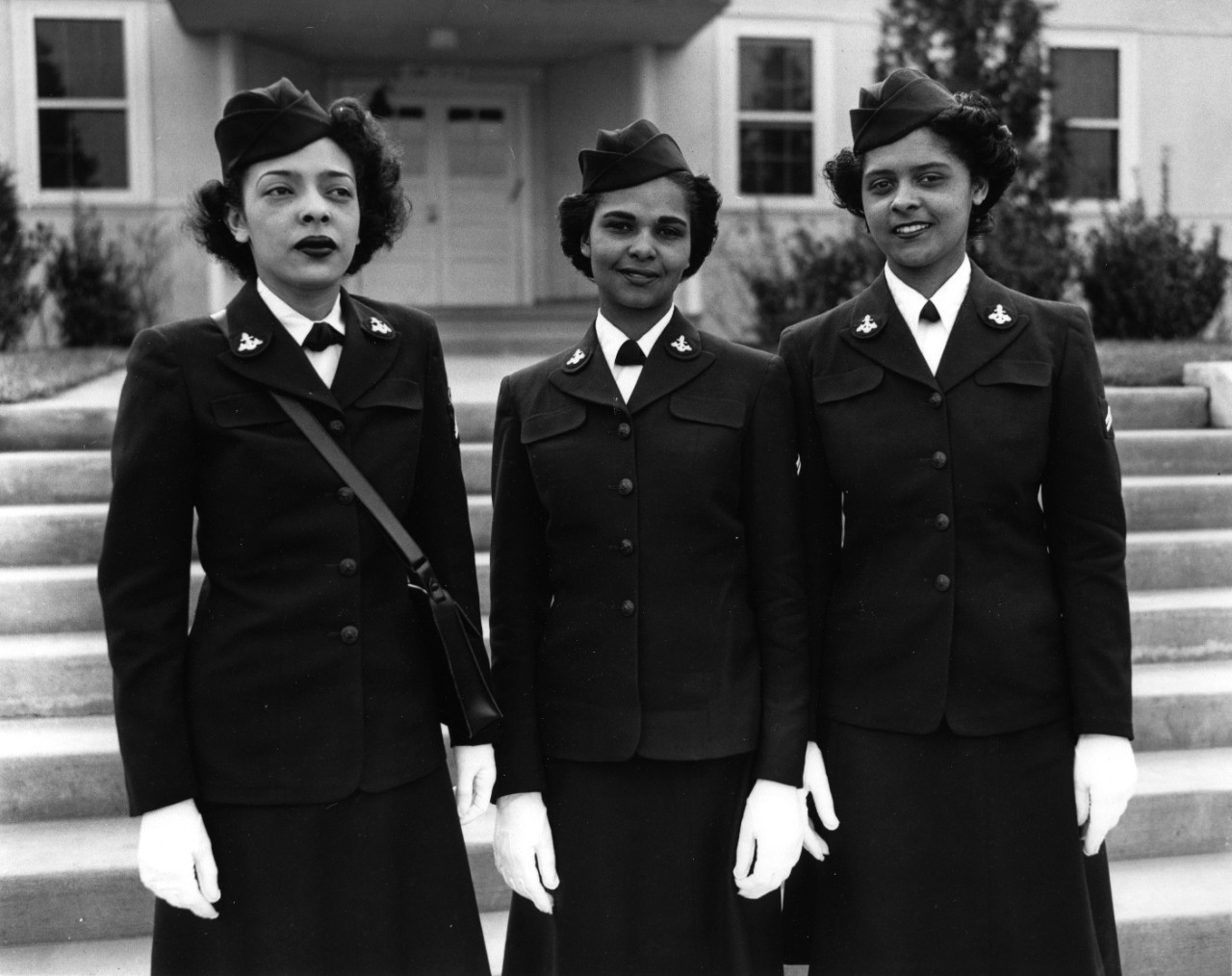 Hospital Apprentices (Left to Right: Ruth C. Isaacs, Katherine Horton, Inez Patterson) are the first African-American WAVES to enter the Hospital Corps School at the National Naval Medical Center, Bethesda, Maryland.