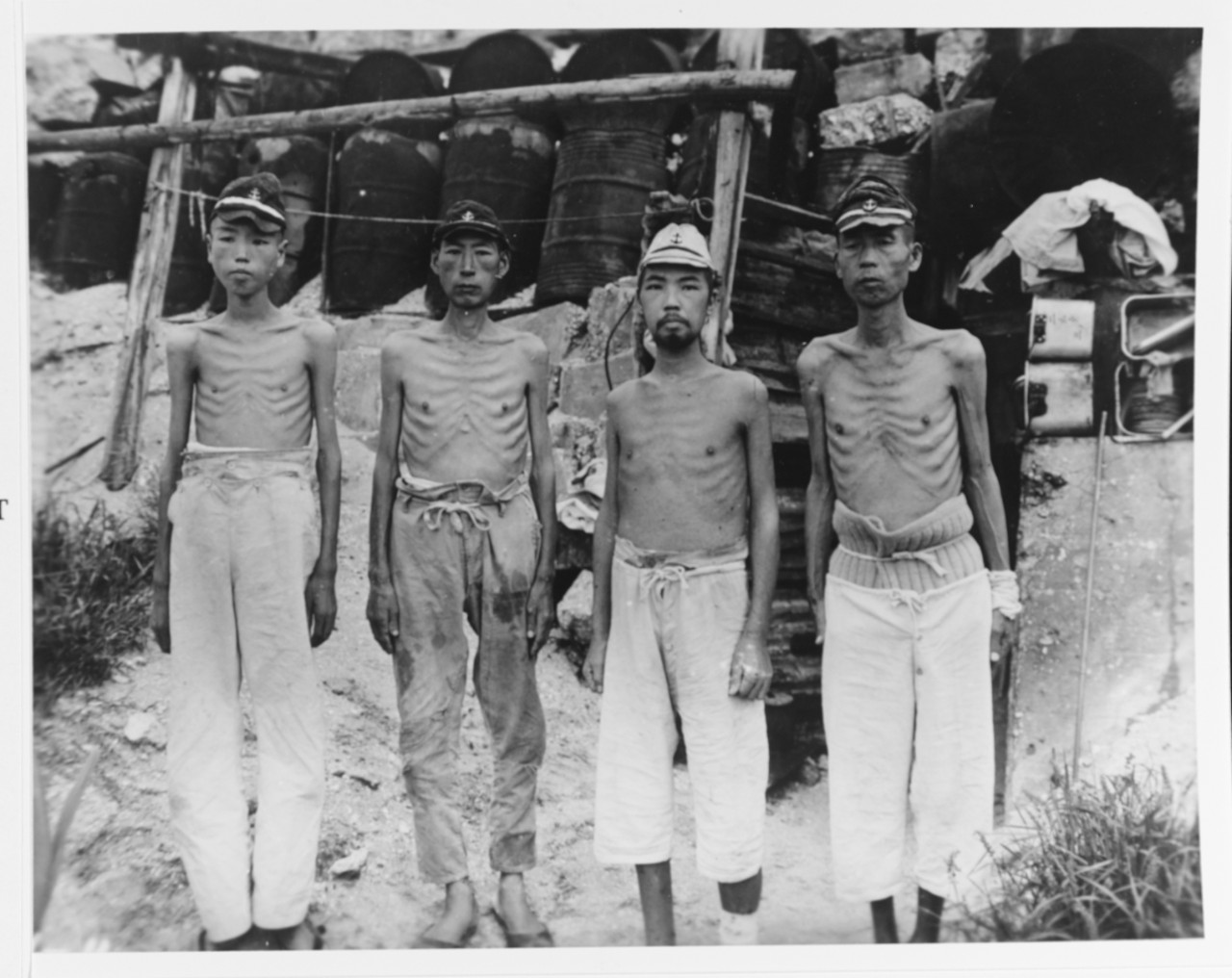 Photo #: 80-G-347131  Emaciated Japanese Naval Personnel