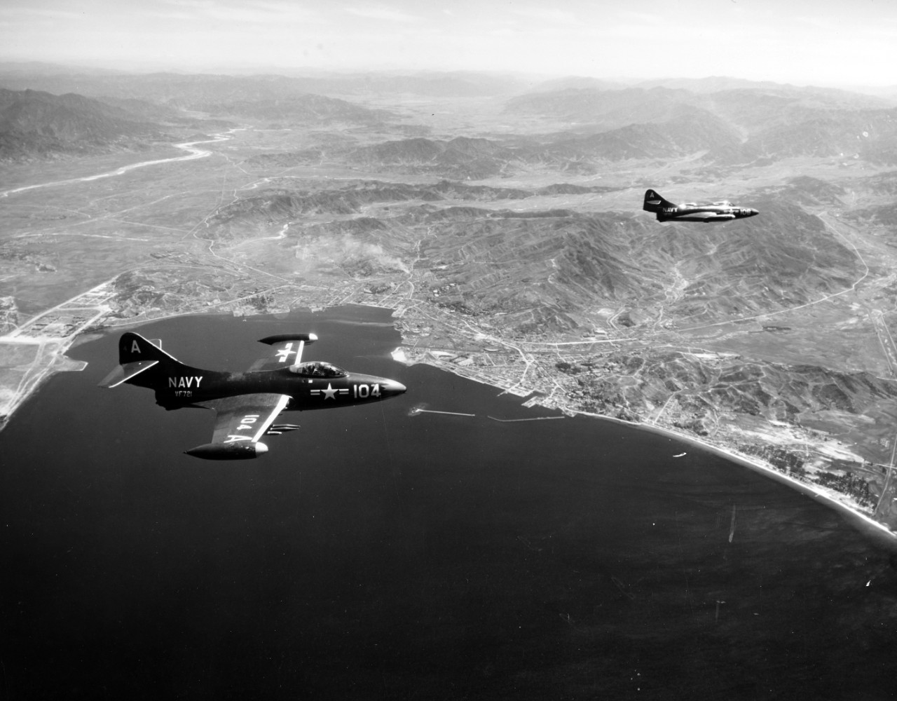 "Photo #: 80-G-431907  Grumman F9F-2 ""Panther"" fighters"