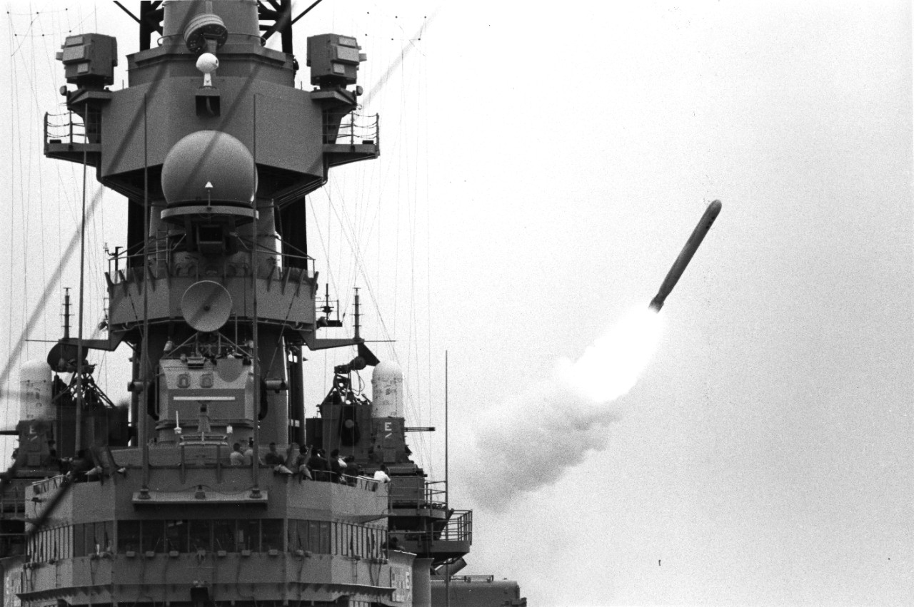 A BGM-109 Tomahawk land attack missile (TLAM) is fired toward an Iraqi target from the battleship USS Missouri (BB-63) at the start of Operation Desert Storm.