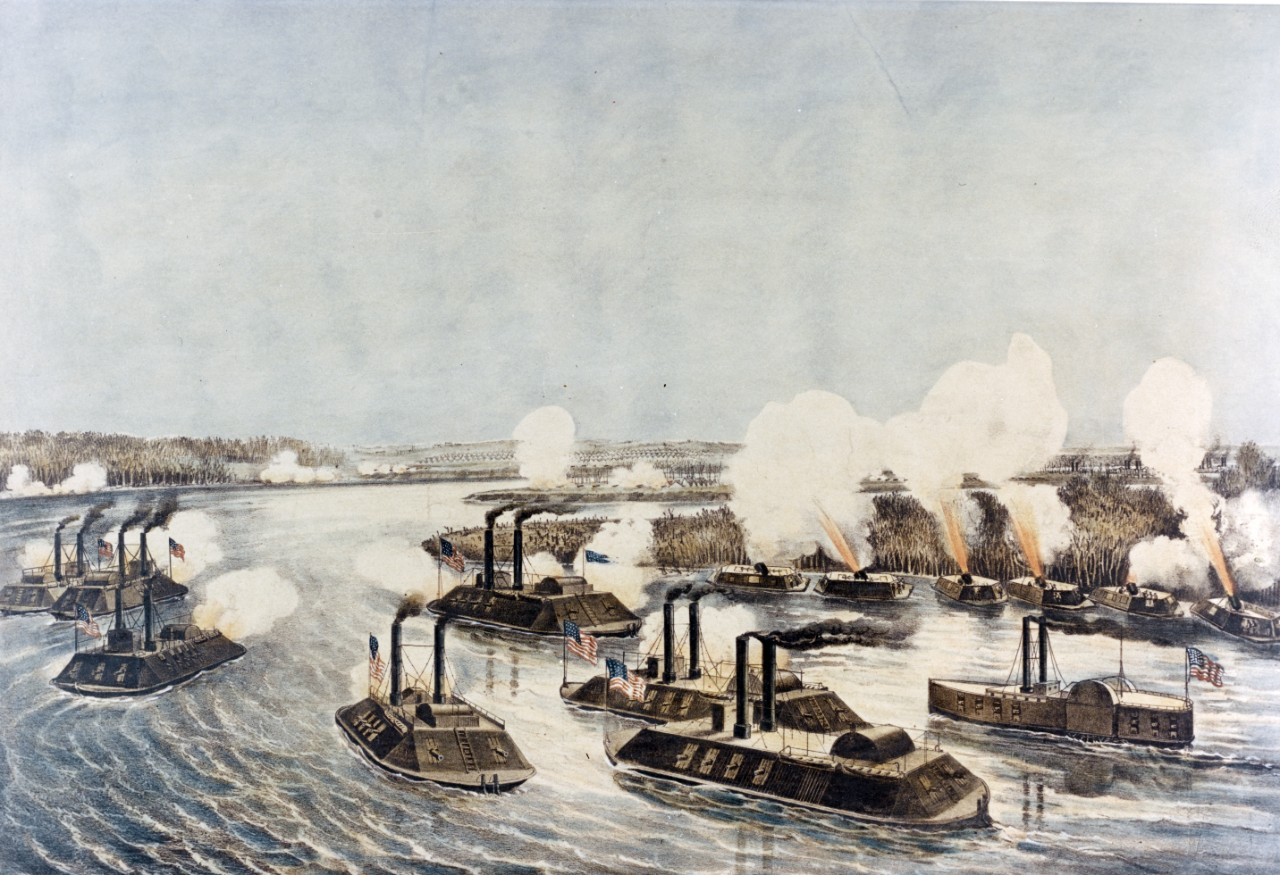 Photo #: KN-969 Bombardment and Capture of Island Number Ten on the Mississippi River, April 7, 1862