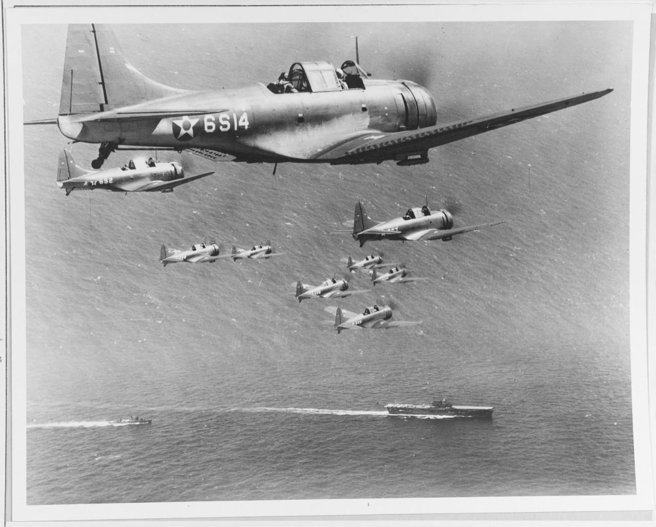 "Photo #: 80-G-6678  Douglas SBD-2 ""Dauntless"" scout bombers"