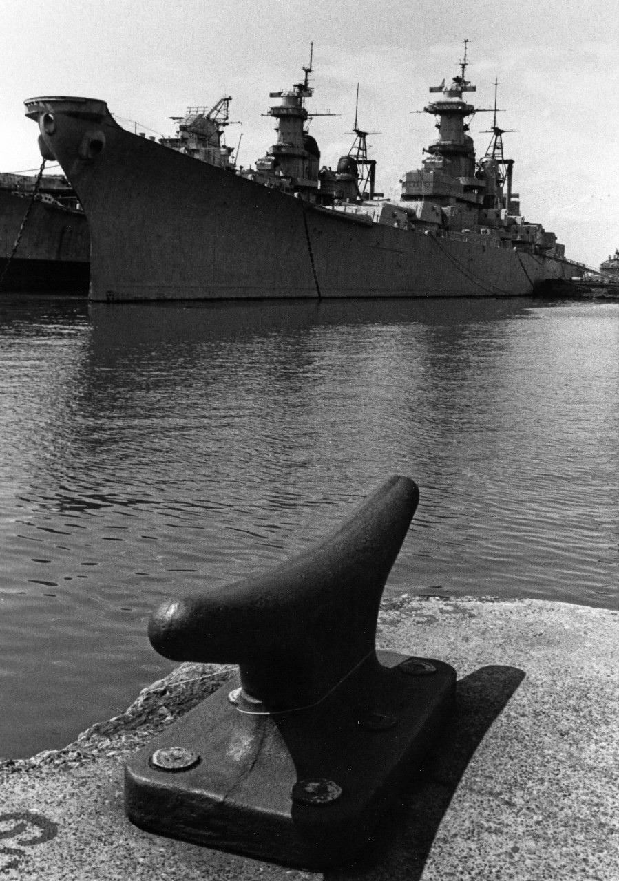 Decommissioned battleship USS Iowa (BB-61) at the Naval Shipyard, Philadelphia, Pennsylvania. Docked to Iowa's starboard is USS Wisconsin (BB-64), another mothball fleet ship.