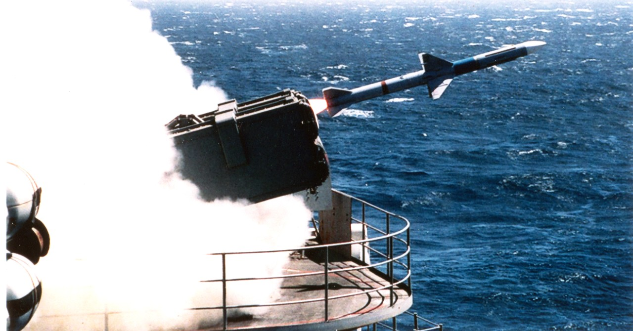On board USS Nimitz (CVN-68) - in support of FLEETEX 95-2A, the USS Nimitz launches a Sea Sparrow missile to destroy an incoming target drone on September 13, 1995. Over 56 missiles were launches by Carrier Air Wing Nine's (CVW 9) battle group during routine training prior to a western Pacific deployment.