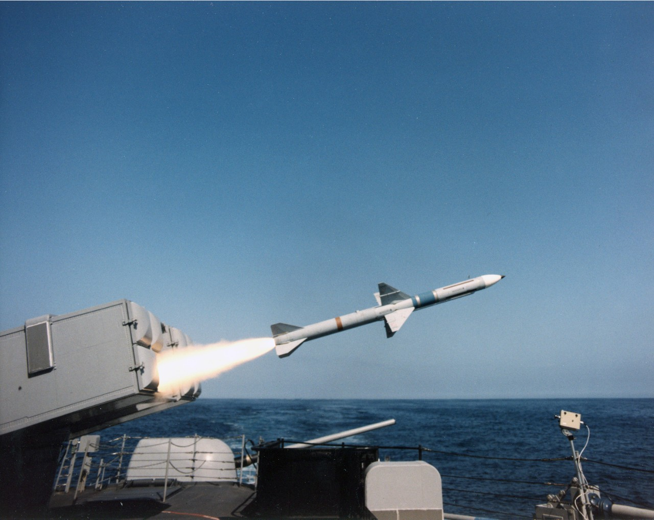 Launching of a Sea Sparrow missile. Unknown ship and date.