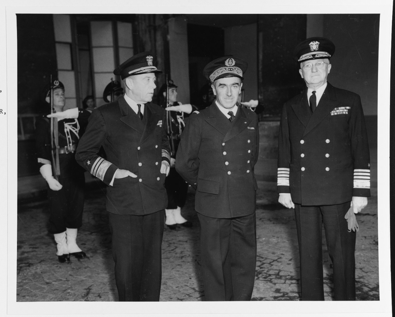 Vice Admiral Alan G. Kirk, USN, Commander, U.S. Naval Forces, France; Vice Admiral A.G. Lemonnier, Chief of staff, French Navy; and Admiral Harold R. Stark, USN, Commander U.S. Naval Forces, Europe.