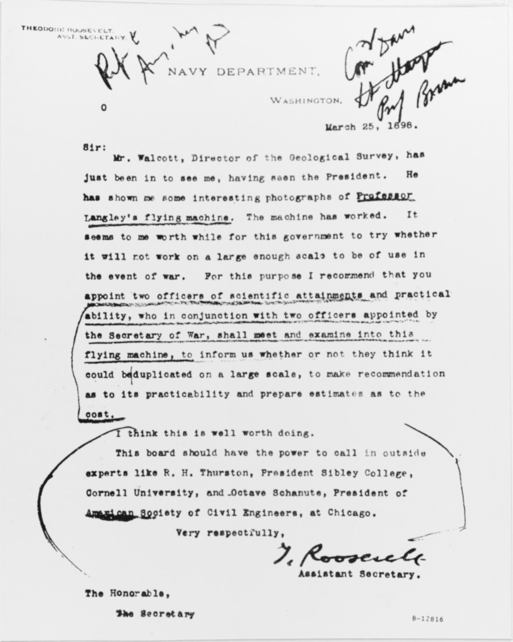 Theodore Roosevelt's letter to John D. Long, The Secretary of the Navy.
