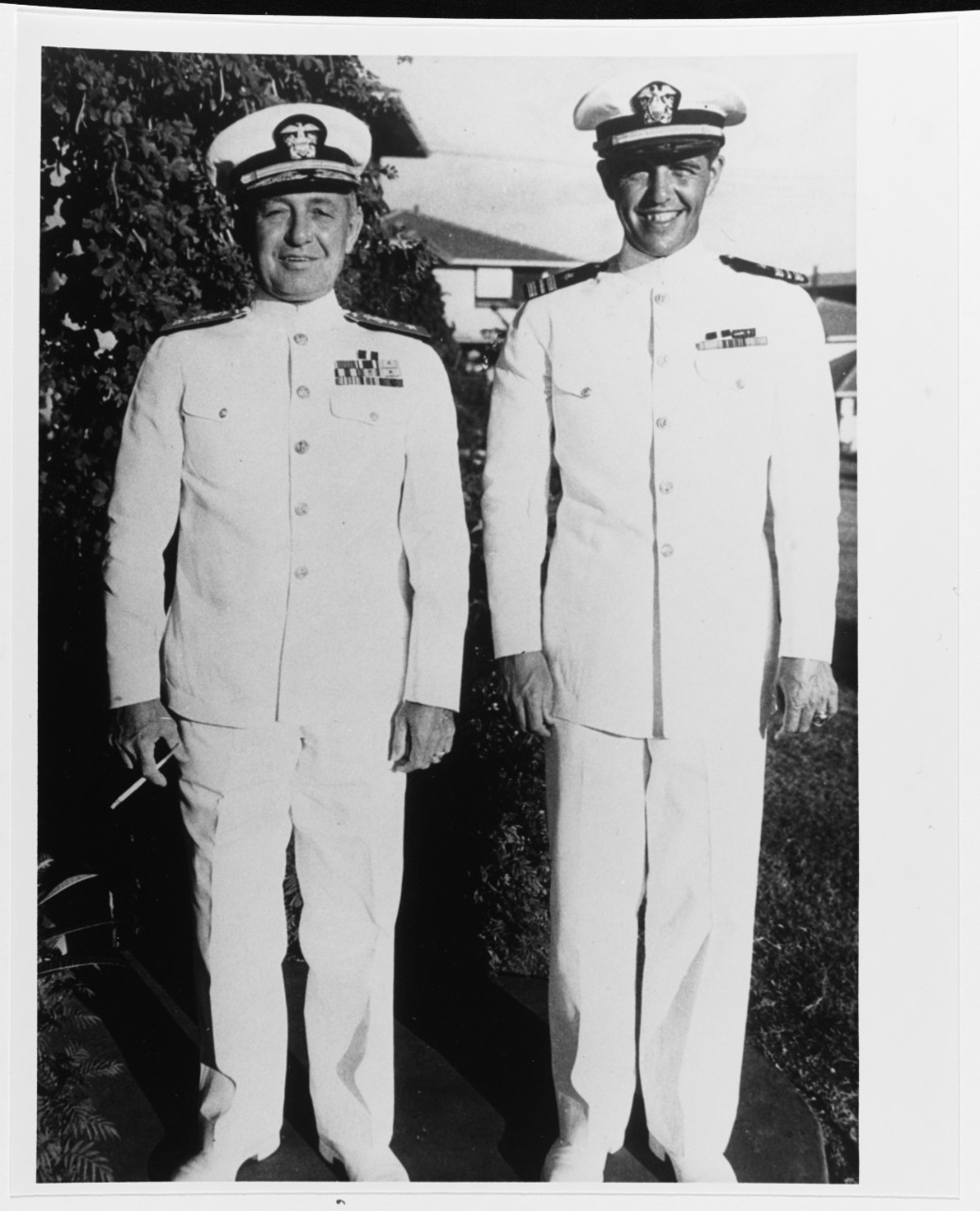 Rear Admiral James L. Kauffman, with his son, Lieutenant Commander Draper L. Kauffman, USNR