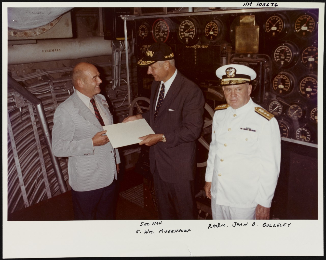 Photo #: NH 105676 Secretary of the Navy J. William Middendorf Rear Admiral John D. Bulkeley, USN
