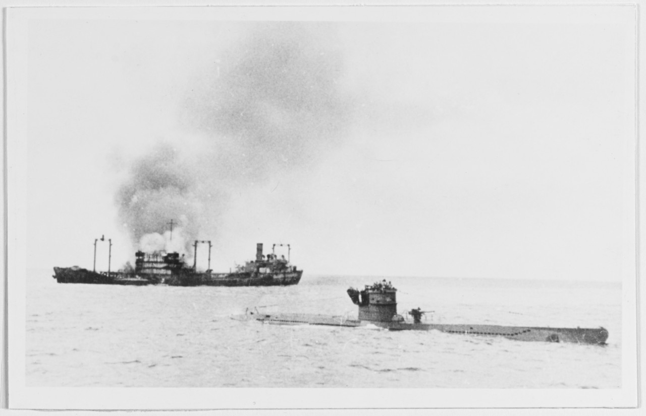 U-442 in front of burning tanker of convoy TM in January 1943.