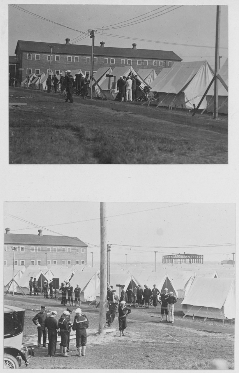 View of tent quarters along oceanfront. Training Camp, Cape May, New Jersey
