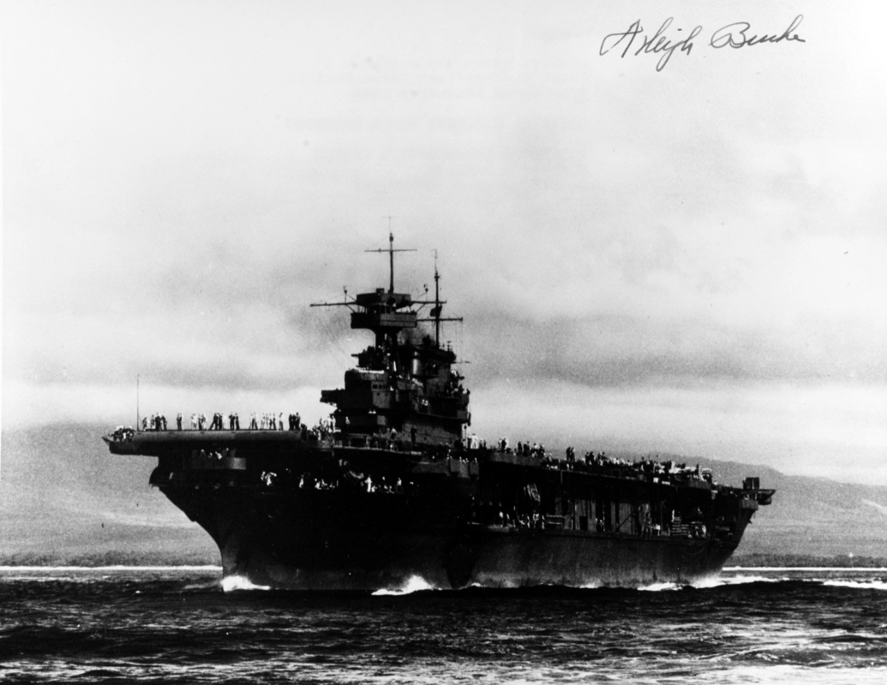 USS ENTERPRISE (CV-6) Admiral A. Burke was assigned to First Carrier Task Force Pacific, from March 1944 -- May 1945.