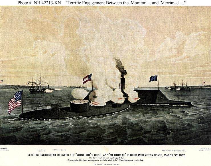 "Photo #: NH 42213-KN ""Terrific Engagement Between the 'Monitor' 2 Guns, and 'Merrimac' 10 Guns, in Hampton Roads, March 9th 1862."""