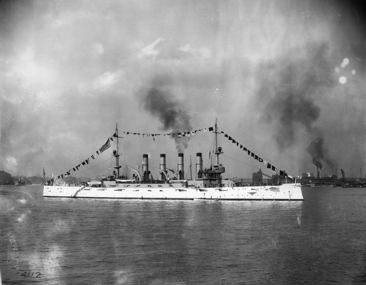 USS Montana (ACR-13) at Philadelphia, Pennsylvania, during Founders' Week, 1908. Courtesy of the official photographer, City of Philadelphia.
