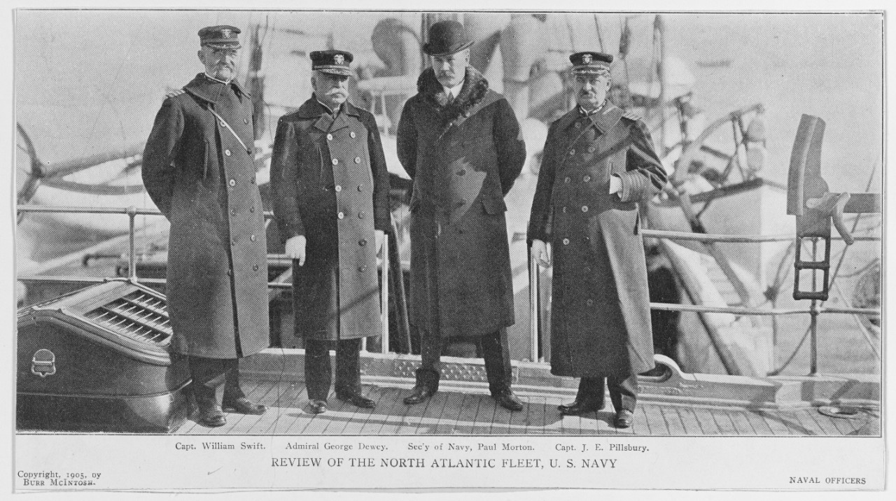 Captain William Swift, Admiral George Dewey, Secretary of Navy Paul Morton, and Captain John E. Pillsbury