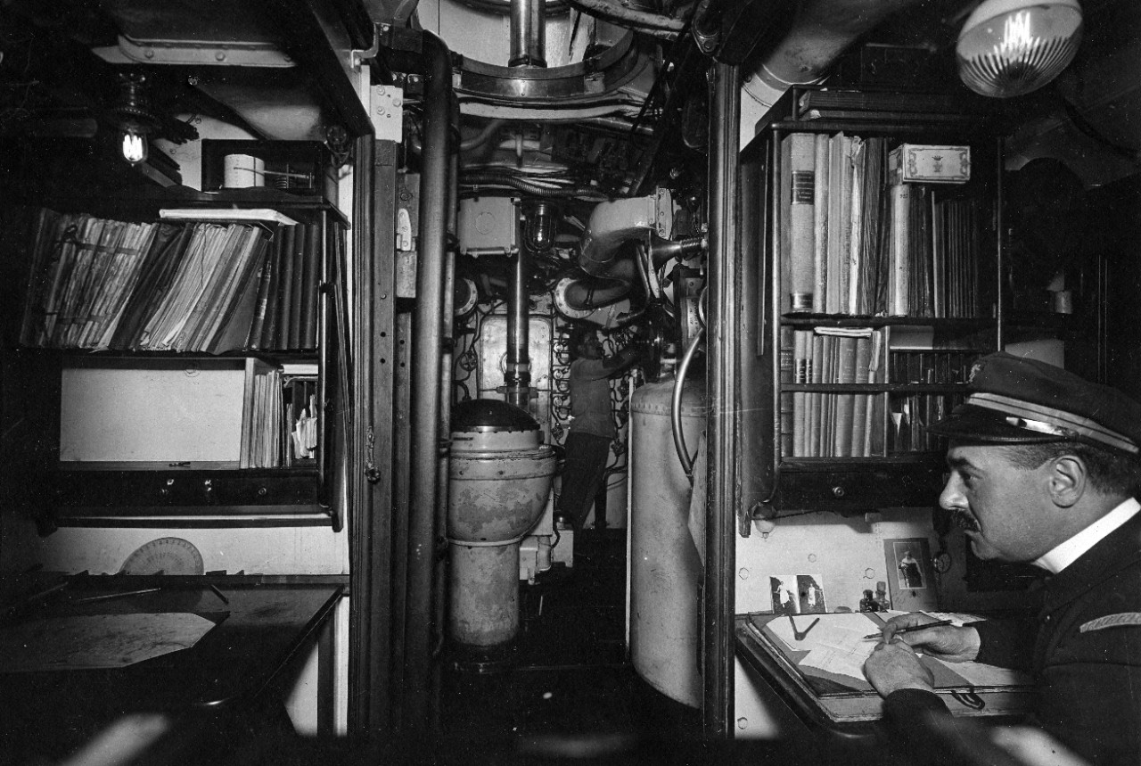 Interior view taken while the submarine was at Cherbourg, France, during WWI.
