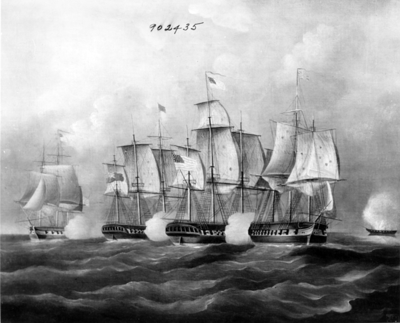 British and American Vessels in Action