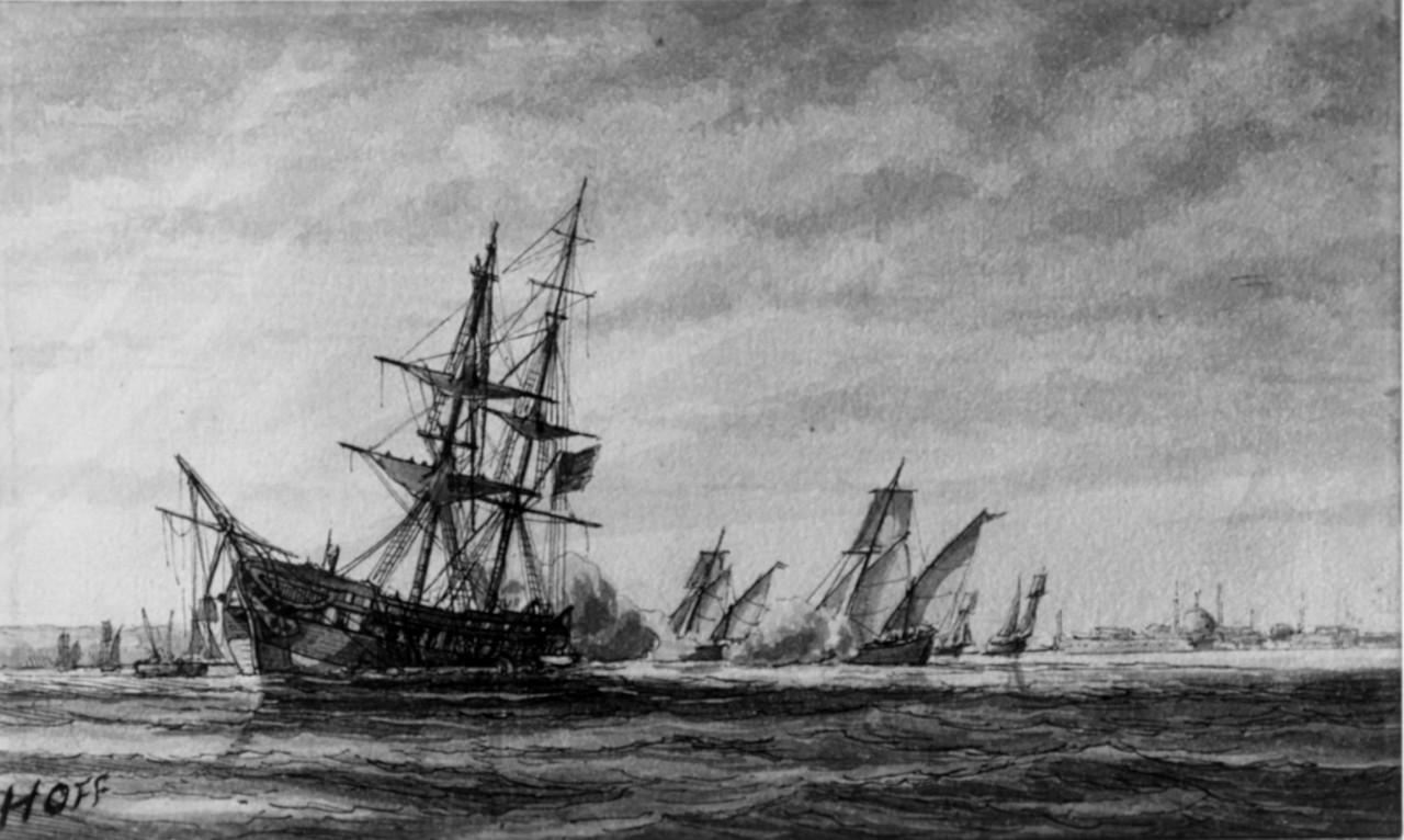 Photo #: NH 56734  Stranding and capture of USS Philadelphia, 31 October 1803