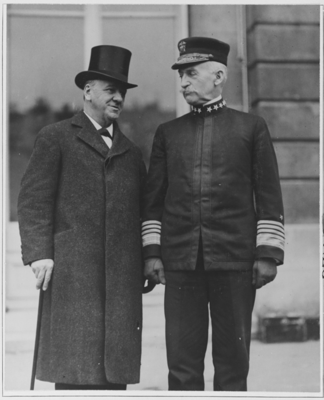 Photo #: NH 56837  Josephus Daniels, Secretary of the Navy (left), and  Admiral William S. Benson, USN, Chief of Naval Operations,