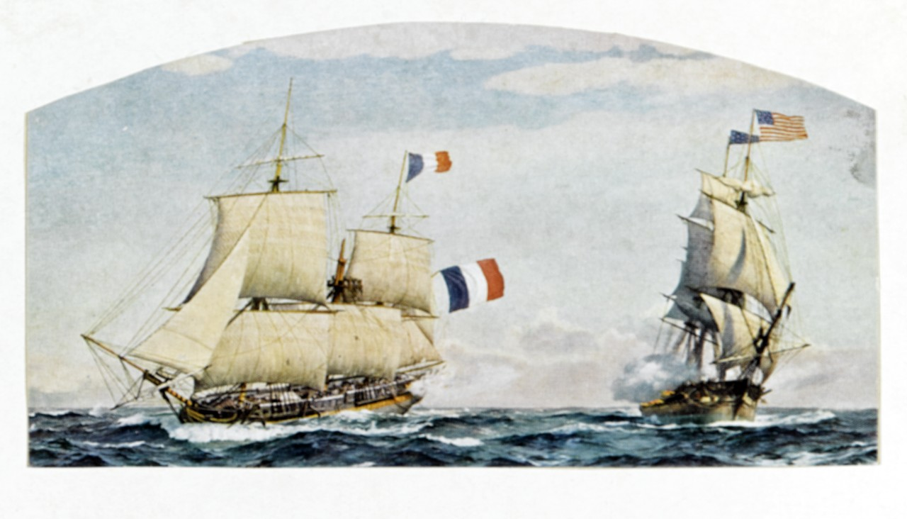 Battle between USS CONSTITUTION and the French Frigate INSURGENTE