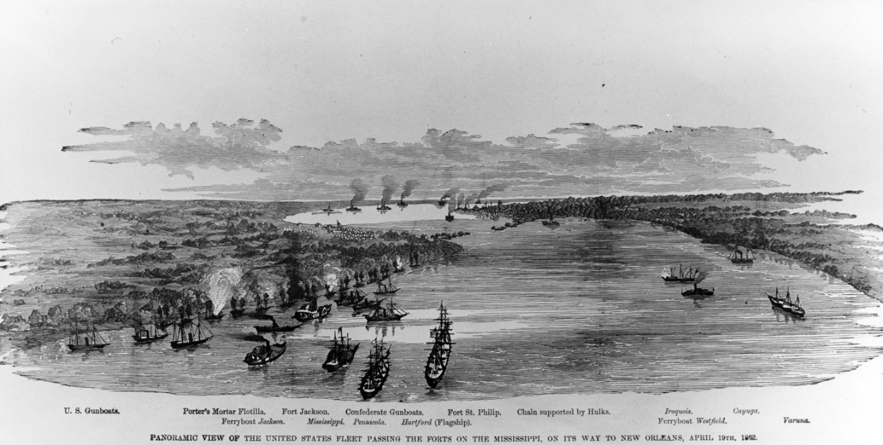 "Photo #: NH 59063  ""Panoramic View of the United States Fleet passing the Forts on the Mississippi, on its way to New Orleans, April 19th, 1862."""