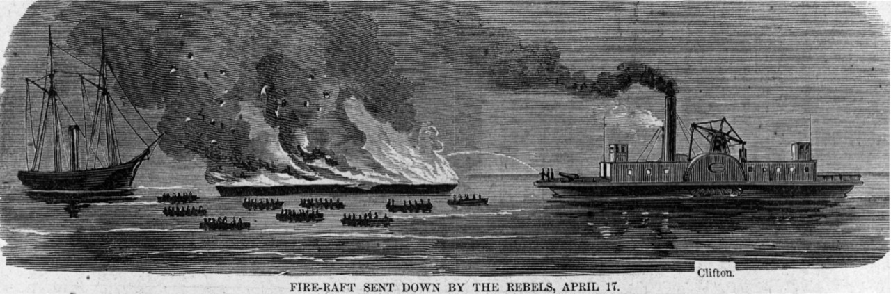 "Photo #: NH 59065  ""Fire-raft Sent Down by the Rebels, April 17"""