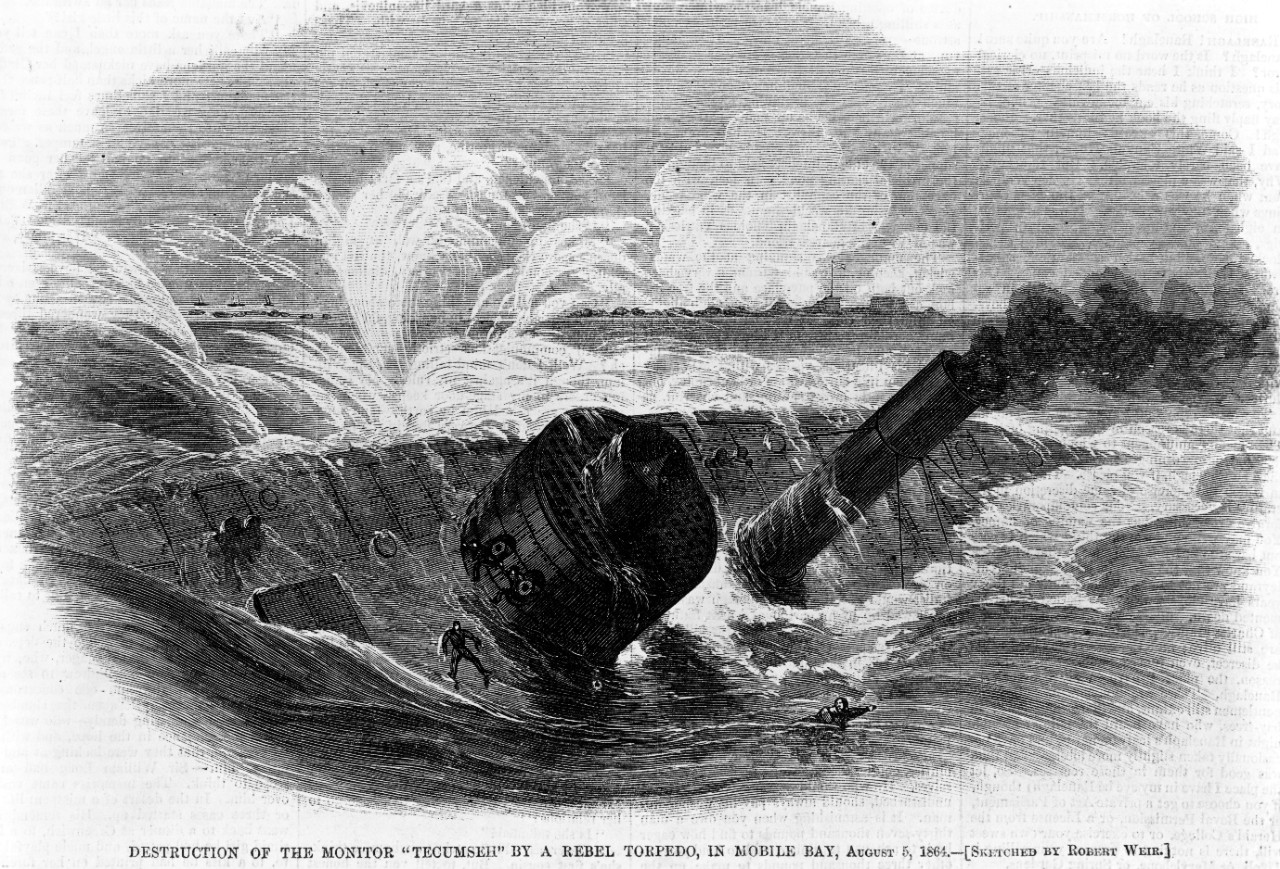"Photo #: NH 61473  ""Destruction of the Monitor 'Tecumseh' by a Rebel Torpedo, in Mobile Bay, August 5, 1864."""
