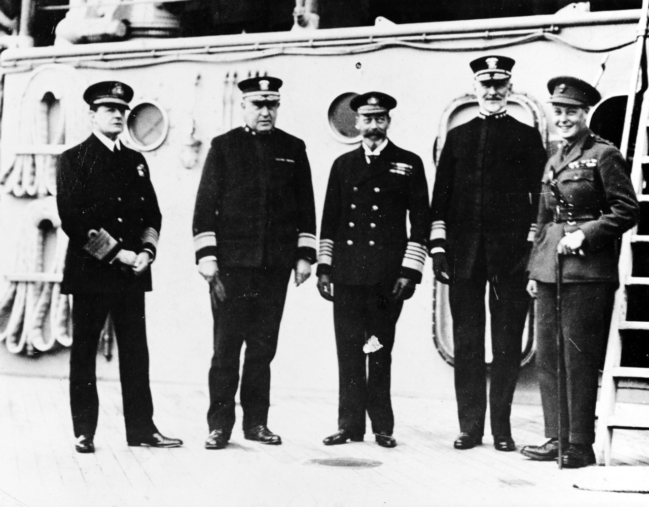 Admiral Earl Beatty, R.N., Rear Admiral Hugh Rodman, U.S. Navy, King George of England, Vice Admiral William S. Sims, USN, and the Prince of Wales