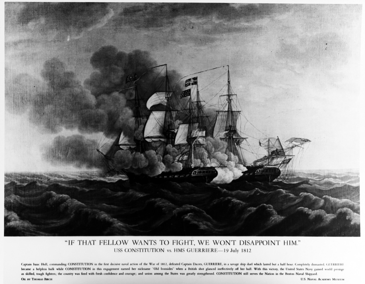 USS CONSTITUTION vs. HMS GUERRIERE, 19 July 1812