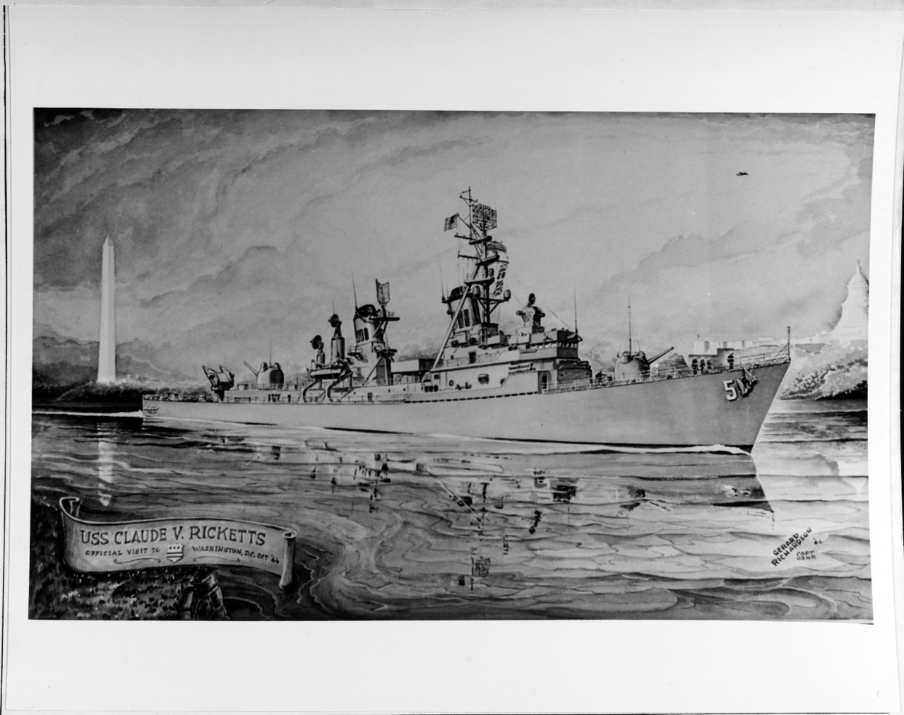 "Painting: ""USS CLAUDE V. RICKETTS (DDG-5) Official Visit to Washington, D.C., October '64""."