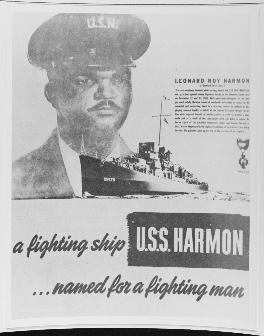 Photo #: NH 69652  Leonard Roy Harmon, Mess Attendant First Class, USN