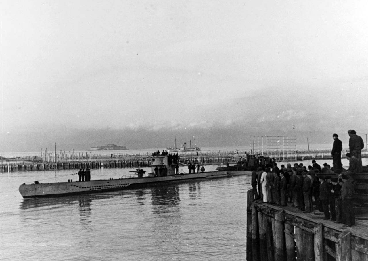 German Type VII Submarine coming to dock At Trondheim, Norway, during World War II
