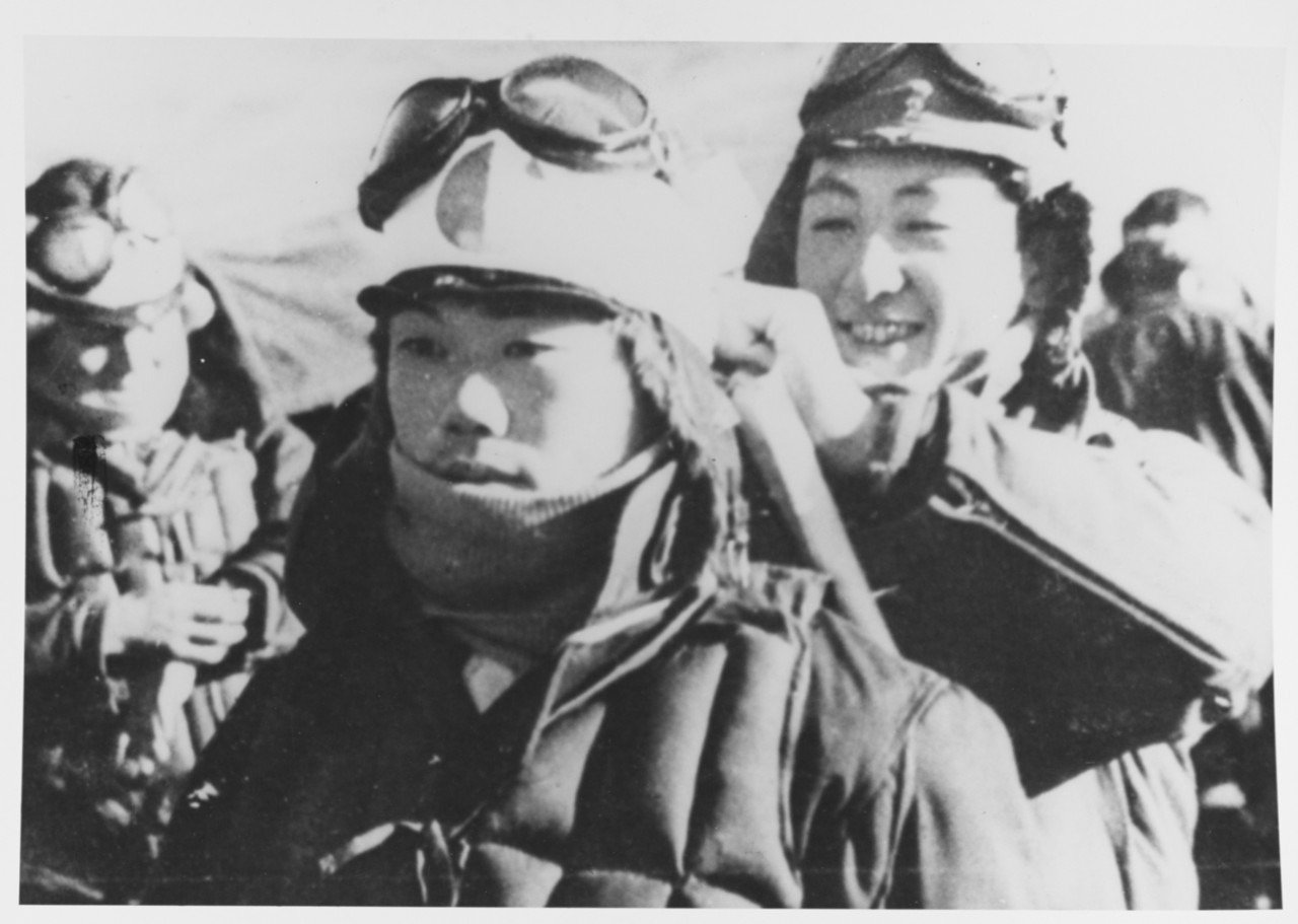 Japanese Kamikaze pilots prepare for battle.