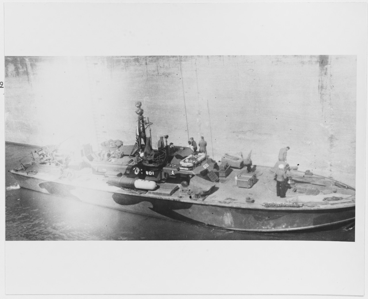USS PT-601 photographed from USS LSM(R)-509 in Lock 41 on the Ohio River, on October 13, 1945