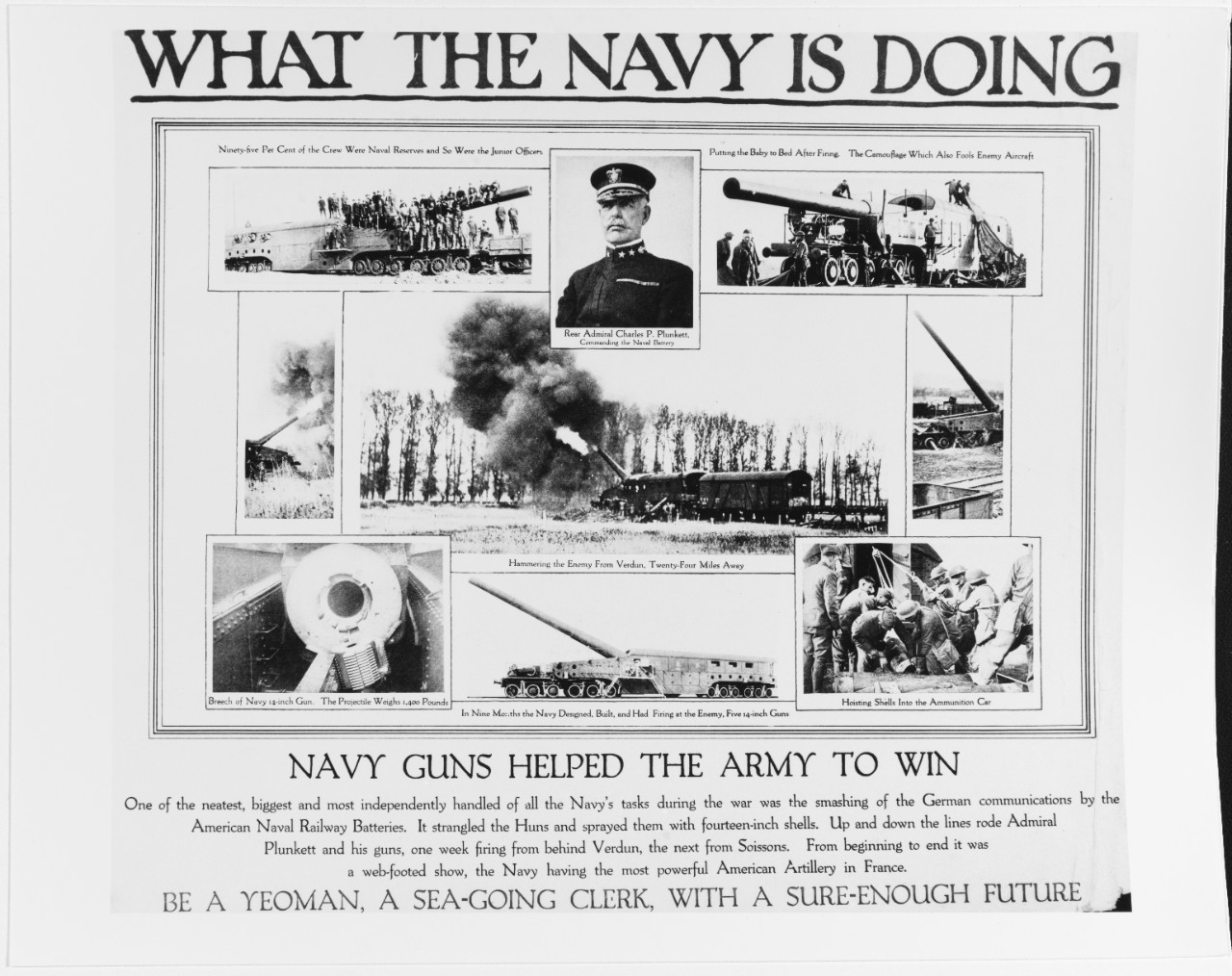 Recruiting Poster: What the Navy is Doing: Navy Guns Helped the Army to Win